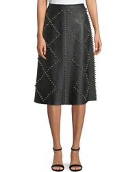 Derek Lam - Studded A-line Midi Leather Skirt - Lyst