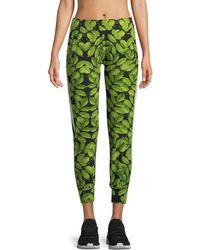 Norma Kamali - Leaf-print Side-stripe Jogger Pants - Lyst