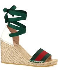 848ee1067da8 Gucci Lilibeth Logo-embellished Crocheted Cotton Wedge Espadrilles ...