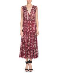 Altuzarra - Aztec-print Sleeveless V-neck Silk Crepon Midi Dress - Lyst