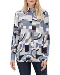 Lafayette 148 New York - Scottie Button-front Long-sleeve Genteel Geometry Crepe Blouse - Lyst