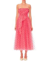 Carolina Herrera - Strapless Heart-print Tulle A-line Cocktail Dress W/ Twist Draping - Lyst