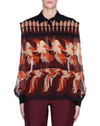 Fendi Bird-print Long-sleeve Silk Georgette Blouse - Multicolour