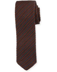Ermenegildo Zegna - Striped Silk Knit Tie - Lyst
