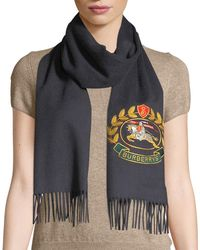 Burberry - Vintage Crest Embroidered Cashmere Scarf - Lyst