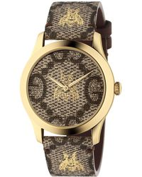 Gucci - Bee And Logo-embossed Leather Watch - Lyst