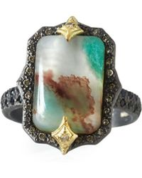 Armenta - Old World Aquaprase Emerald-shaped Cabochon Ring With Diamonds - Lyst
