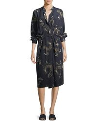 Vince - Spaced Floral-print Tie-waist Shirtdress - Lyst