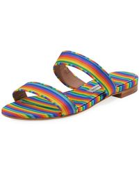 Tabitha Simmons - Loopsey Striped Two-band Flat Sandal - Lyst