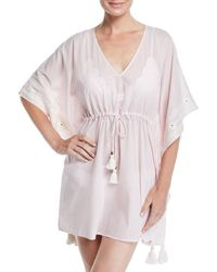 6d841c442afcf Tory Burch Madura Long Cover Up Caftan in Blue - Lyst