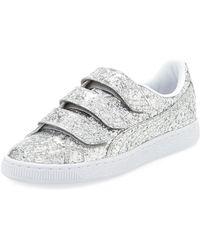 PUMA - Three-strap Glittered Low-top Sneakers - Lyst