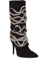 Giuseppe Zanotti - Suede Mid-calf Boot With Chain Detail - Lyst
