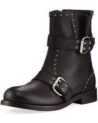 Jimmy Choo - Blyss Pebbled Leather Moto Boot - Lyst