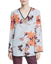 Etro - V-neck Long-sleeve Lily Floral-print Silk Kimono Blouse - Lyst