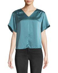 Rebecca Taylor - Short-sleeve Silk Charmeuse V-neck Top - Lyst