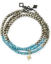 Armenta Old World Leather & Aquaprase Cabochon Wrap Bracelet DwKohaX