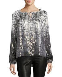 Elie Tahari | Mariella Long-sleeve Metallic Silk-blend Blouse | Lyst