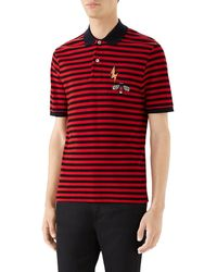 b0694d704 Gucci Stonewashed Stripe Cotton Polo Shirt in Blue for Men - Lyst