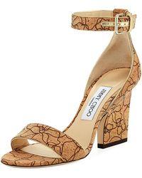 Jimmy Choo - Edina Etched Cork Ankle-wrap Sandal - Lyst