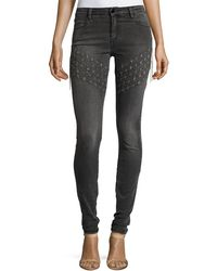 Brockenbow - Plaza Emma Chain Embroidered Skinny Denim Jeans - Lyst