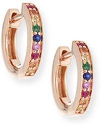 Sydney Evan - 14k Rainbow Sapphire Huggie Hoop Earrings - Lyst