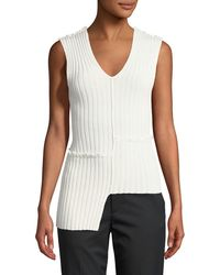 Helmut Lang - Mismatched Ribbed Tank W/ Ruffled Trim - Lyst