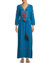 Figue - Lulu Embroidered Tie-waist Maxi Dress - Lyst
