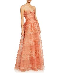 J. Mendel - Strapless Ruffle-tiered Organza Gown - Lyst