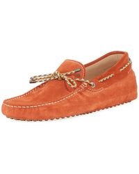 Tod's - Gommini Suede Driver With Braided Tie - Lyst