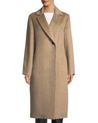Cinzia Rocca - Notched-collar Long-sleeve Alpaca-blend Coat - Lyst