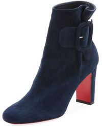 Christian Louboutin - Tres Olivia Suede Buckled Red Sole Booties - Lyst