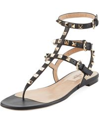 4975cec9a21e Valentino - 17ss Women s Shoes Rockstud Thong Black - Lyst