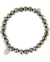 Sydney Evan - Champagne Pyrite Bead Bracelet W/14k Gold Diamond Hamsa Charm - Lyst