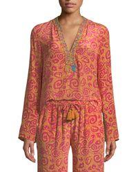 Le Sirenuse - Annalisa V-neck Long-sleeve Paisley-print Silk Crepe Tunic - Lyst