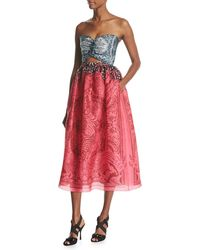 Mary Katrantzou | Strapless Cutout Organza Midi Dress | Lyst