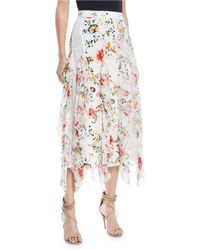 Alice + Olivia - Yula Lace Godet Skirt With Floral-print Ruffled Frills - Lyst