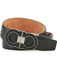 Ferragamo - Men's Leather Double Gancini-buckle Belt - Lyst