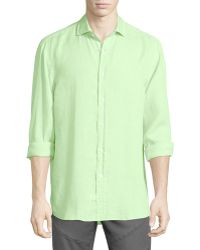 Pink Pony - Solid Linen Long-sleeve Sport Shirt - Lyst
