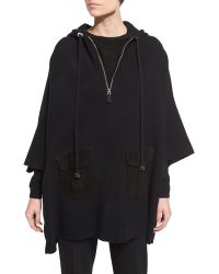 Pink Pony - Wool-blend Hooded Anorak Poncho - Lyst