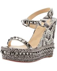 buy replica shoes online - Christian louboutin Une Plume Patent Peep-toe Red Sole Wedge ...