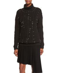 Thierry Mugler | Pierced Chunky Turtleneck Sweater | Lyst