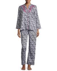 Oscar de la Renta - Herringbone Stripe Pajama Set - Lyst
