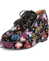 Laurence Dacade - Marnie Embroidered Suede Oxford - Lyst