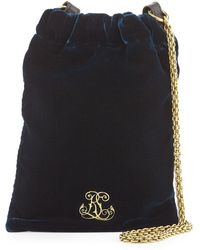 Pink Pony - Embroidered Velvet Chain Pouch Bag - Lyst