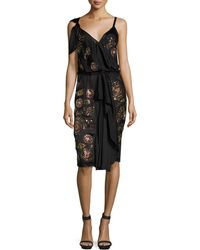 Libertine - Embroidered Vintage Silk-Blend Draped Dress - Lyst