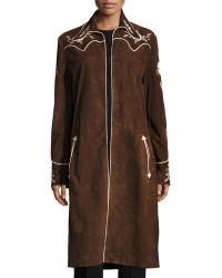 Ralph Lauren - Long Embroidered Suede Coat - Lyst