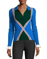 Esteban Cortazar - Ribbed Knit Polo Sweater - Lyst