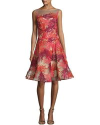 Naeem Khan - Coral-embroidered Illusion Cocktail Dress - Lyst