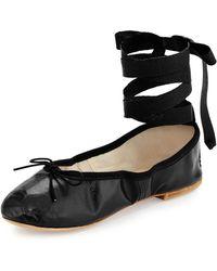 Ballet Beautiful - Street Ballerina Leather Ankle-wrap Flat - Lyst