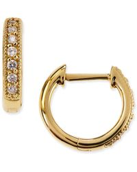 Jude Frances - Small 18k Gold Hoop Earrings With Diamonds - Lyst